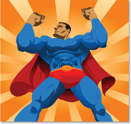 Graphic of strong, confident Superman-like figure who can change the fear of speaking